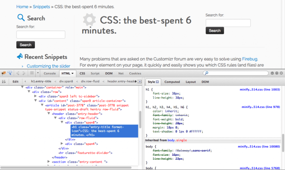 How to inspect your WordPress webpages code in your browser