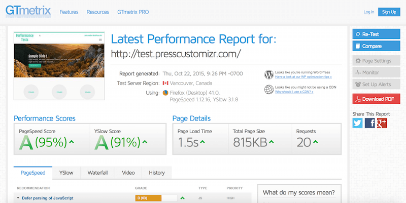 How to improve the page load performances with the Customizr
