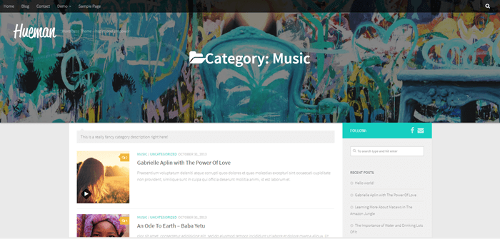 Music category slider half-window