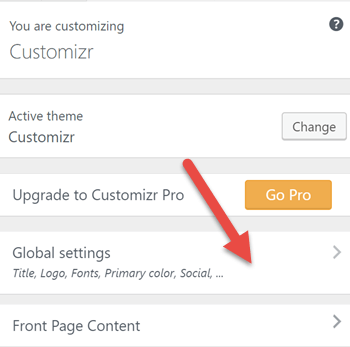 Global settings Customizer link