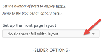 Front page layout select customizer