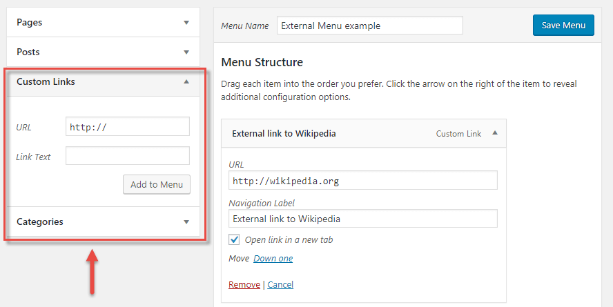 custom link in wordpress menu