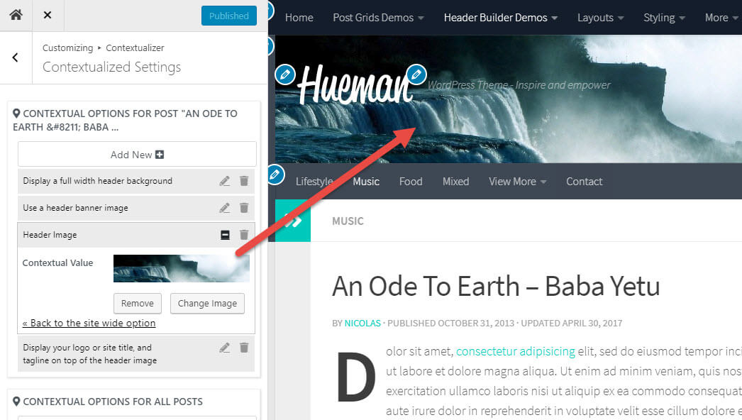 Using the WordPress live customizer in the Hueman theme