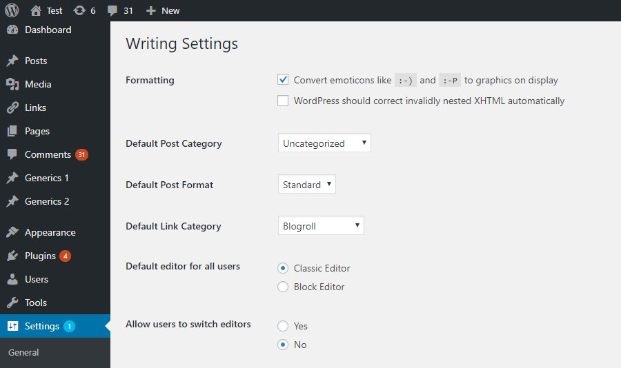 Switching to the classic editor in the writing settings