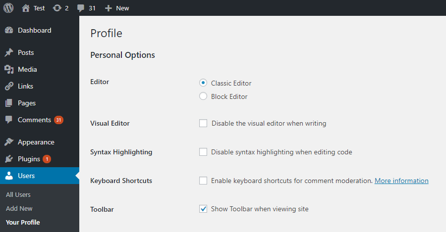 Classic editor for a user