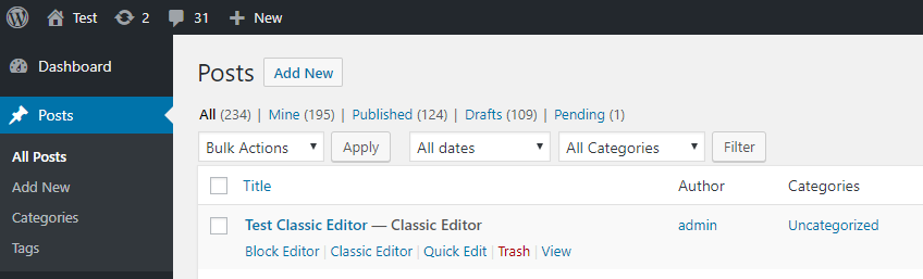 Classic / Block editor tag in the post list