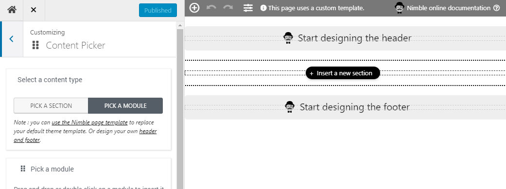Starting from a blank page with the WordPress Nimble Page Builder