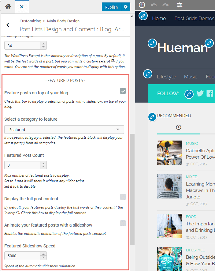 Feature posts in the Hueman theme