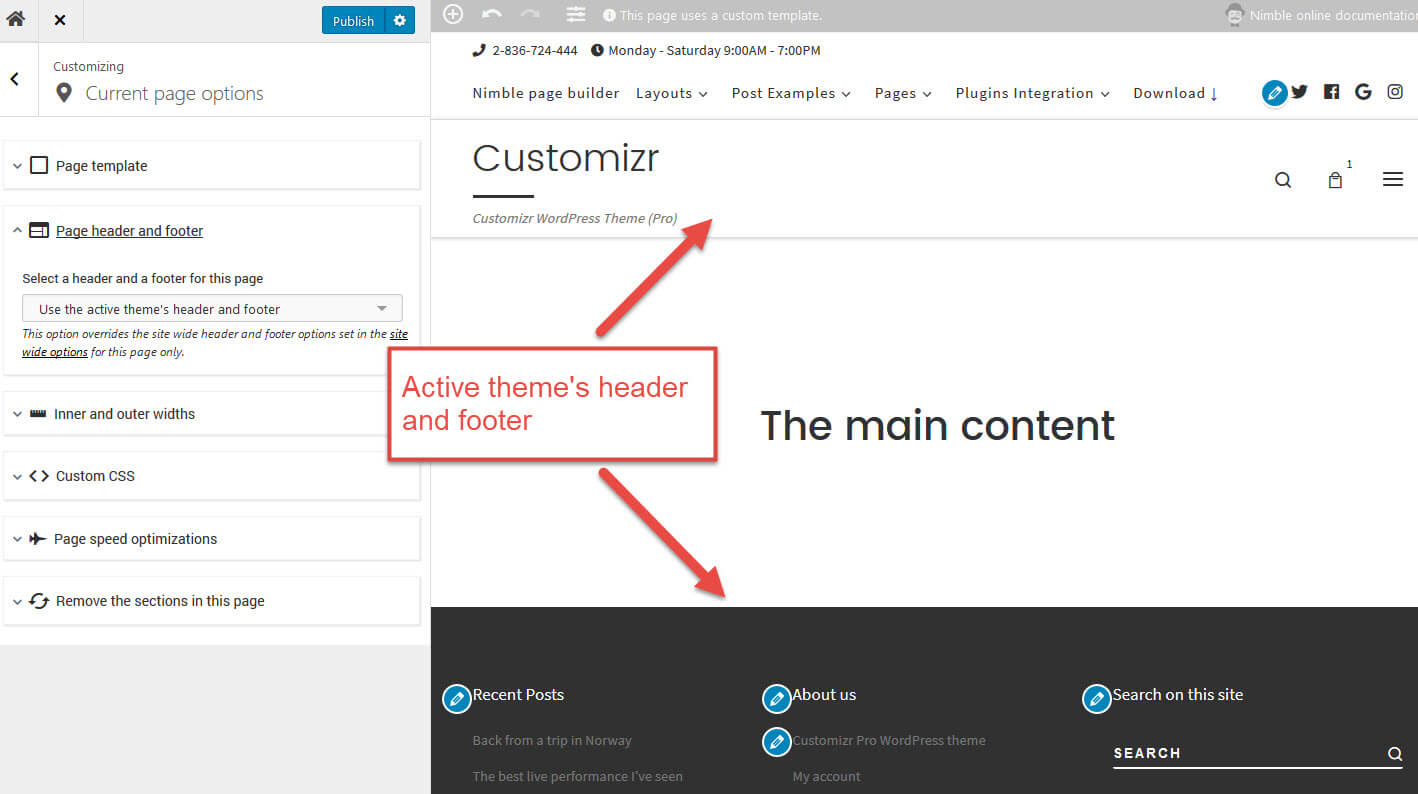 How to build your WordPress header and footer with Nimble