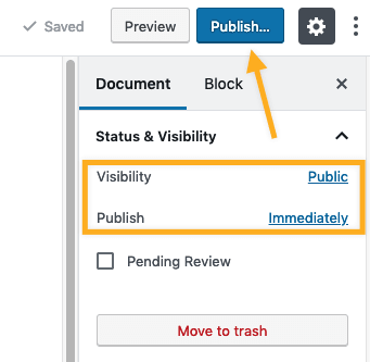 Design and publish a page in WordPress
