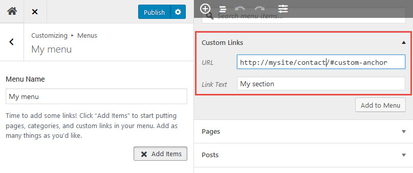 WordPress Menu item with an anchor link, with full url