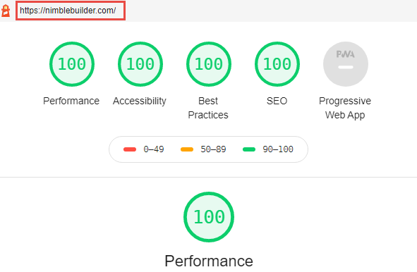 Nimble Builder performance report on Google audit tool