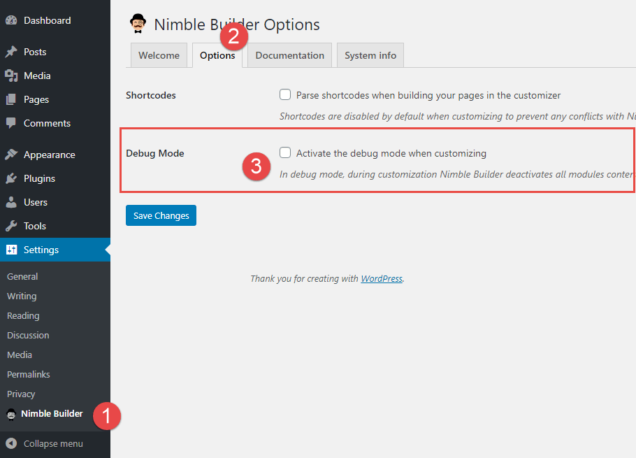 Nimble Builder Debug mode