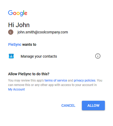 Access prompt from Google Contacts