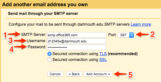 Sending email from your Dartmouth address through Gmail