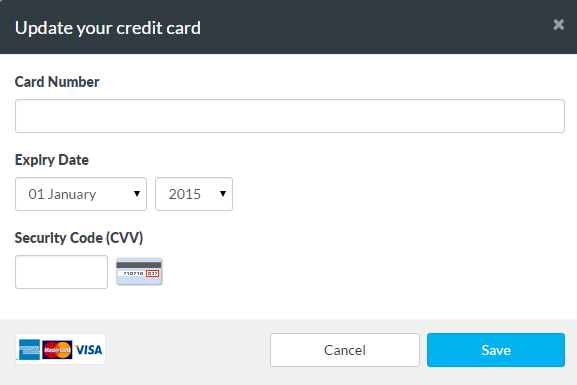 Enter your new credit card details