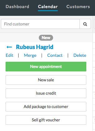 Calendar sidebar - new customer