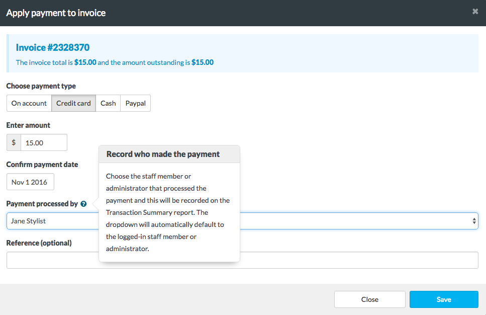 Applying payments to invoices