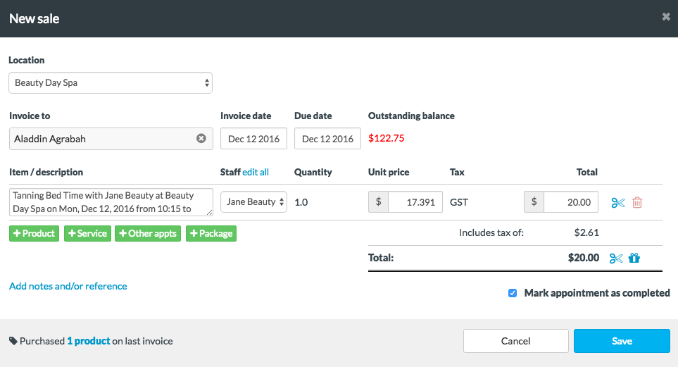 A New Invoice Will Pop Up Showing The Appointment Service Details As A Line  Item And Typical Invoice Details. You Can Adjust This Information At Any  Time By ...  Typical Invoice