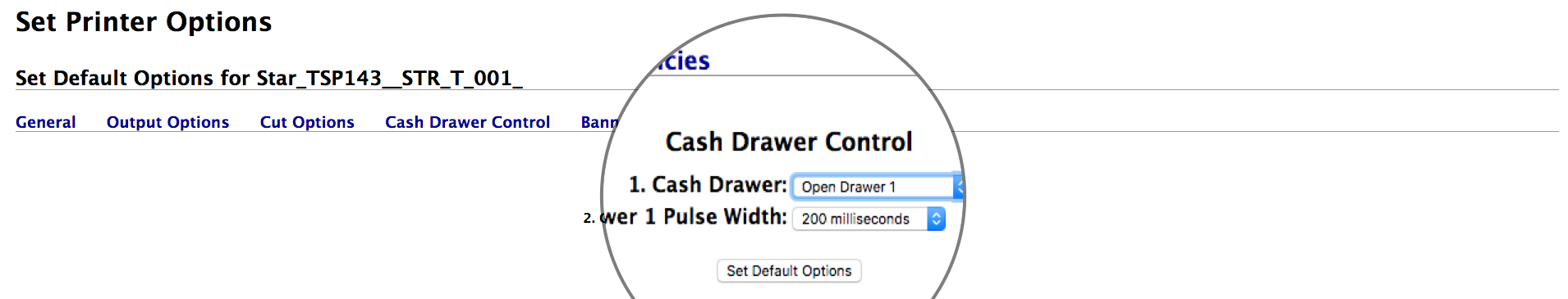 How to set up a cash drawer for star tsp100 tsp 113 tsp143 choose open drawer 1 from the list asfbconference2016 Image collections