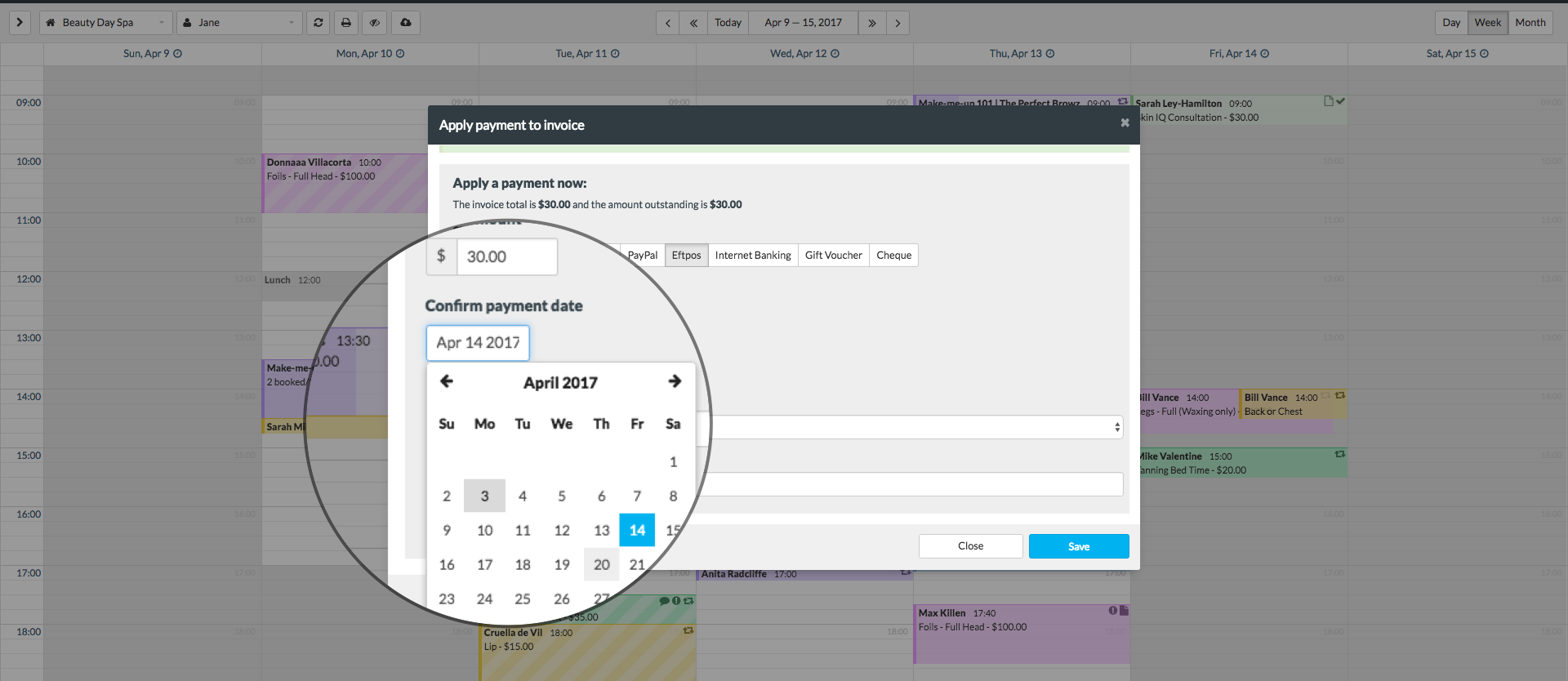 Adjust the Confirm payment date field, if the payment occurred on a  different day/date: