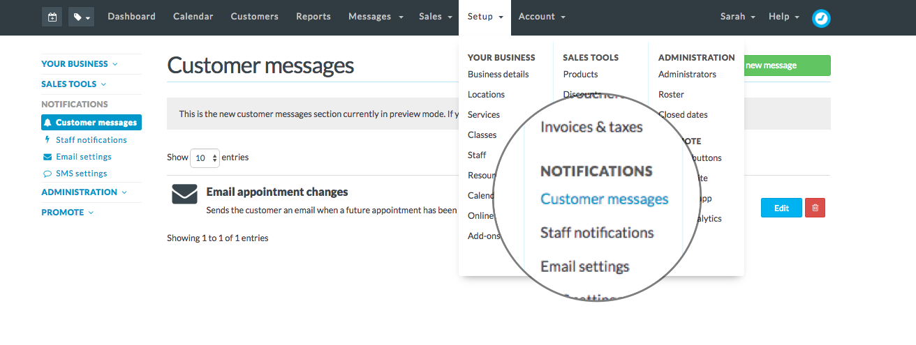 head to setup customer messages from the main menu