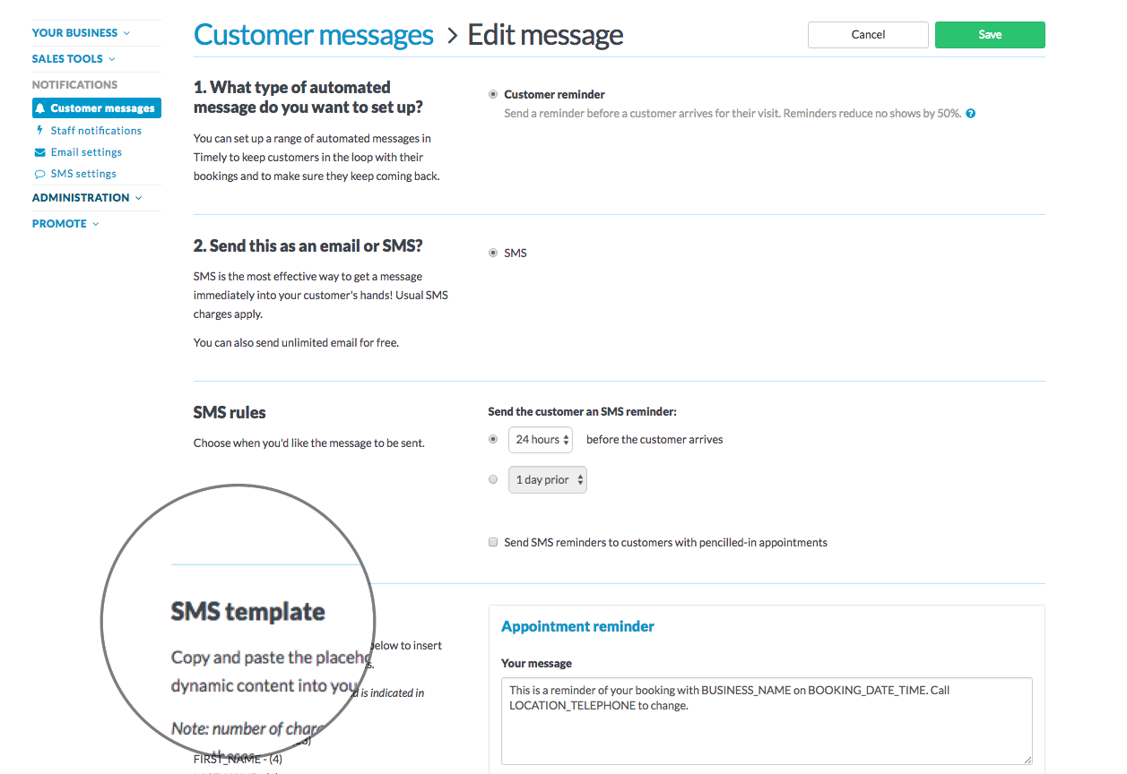 How to customise your SMS message templates - Timely Help Docs