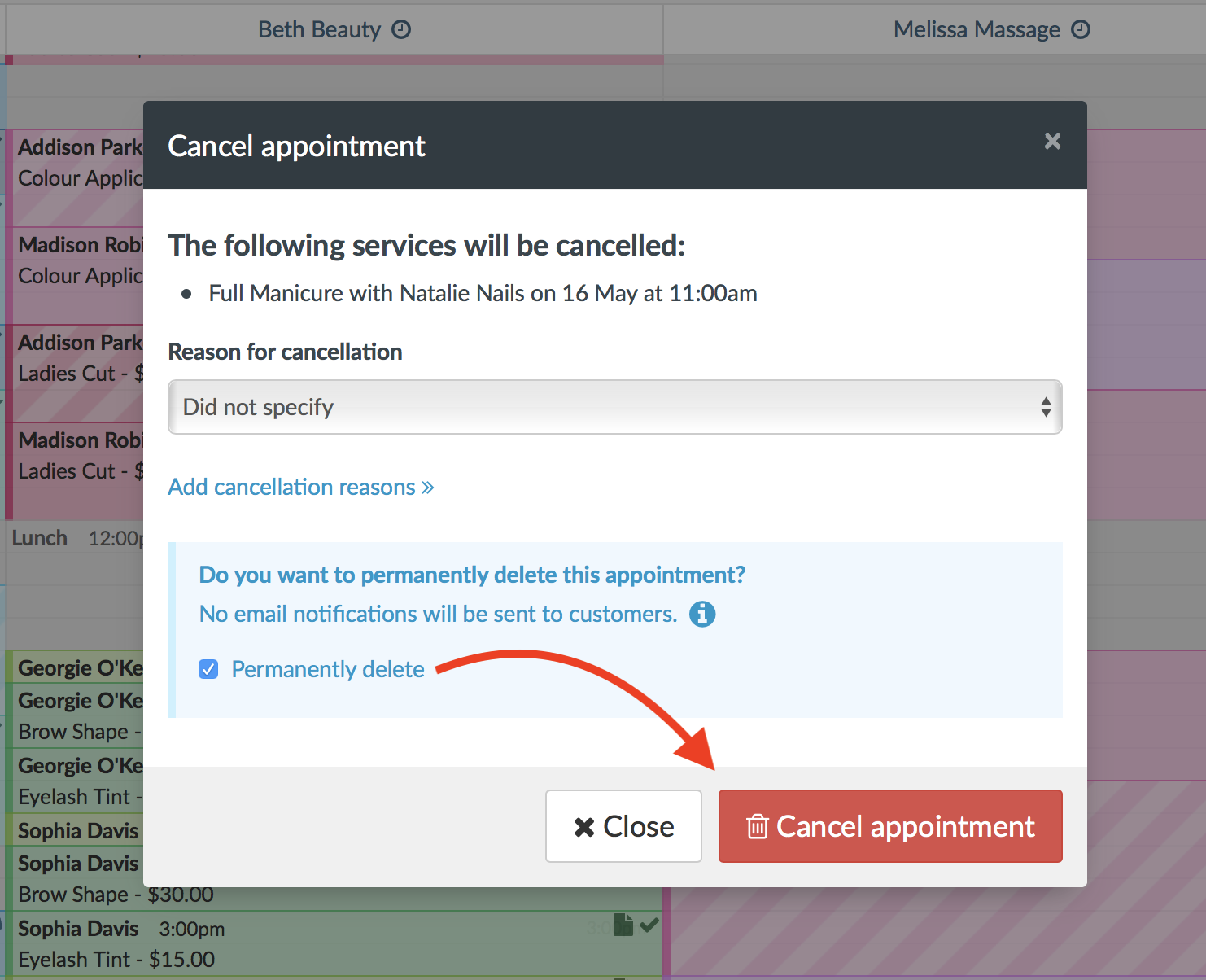 How to cancel or delete an appointment - Timely Help Docs