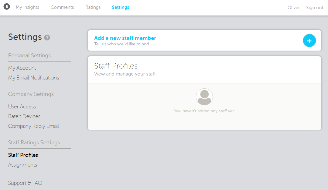 Staff profiles in the RateIt Portal