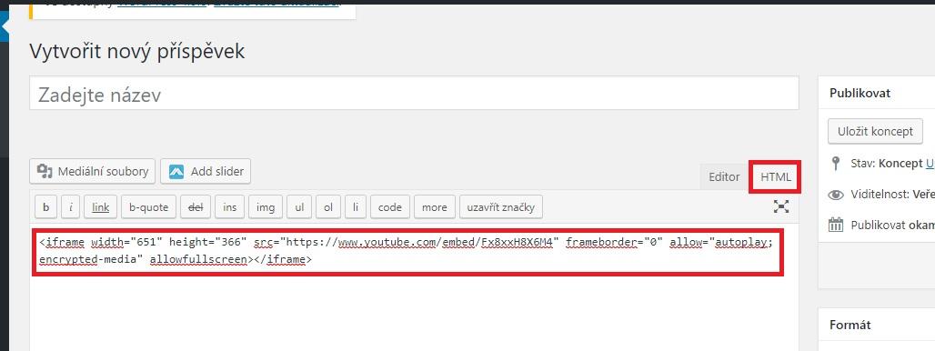 aa9a9c5bc 2) Přejděte na editaci článku a přepněte editor do režimu pro vkládání kódu  pomocí záložky HTML. Zde vložte zkopírovaný kód videa.