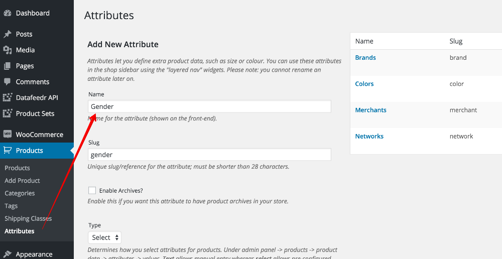 Add gender as product attribute - Datafeedr Documentation