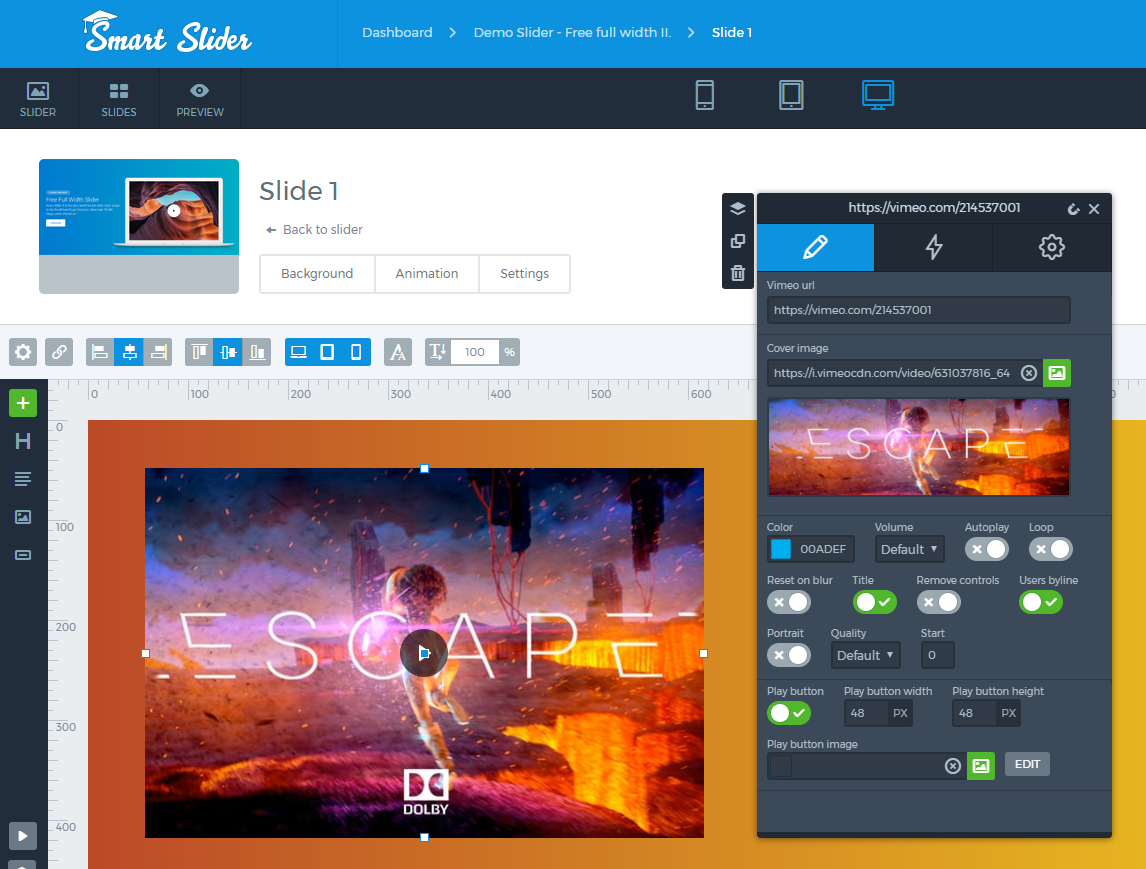 Vimeo layer - Smart Slider 3