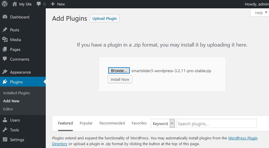 WordPress installation - Smart Slider 3