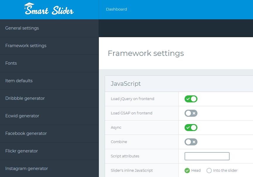 Global settings - Framework settings - Smart Slider 3