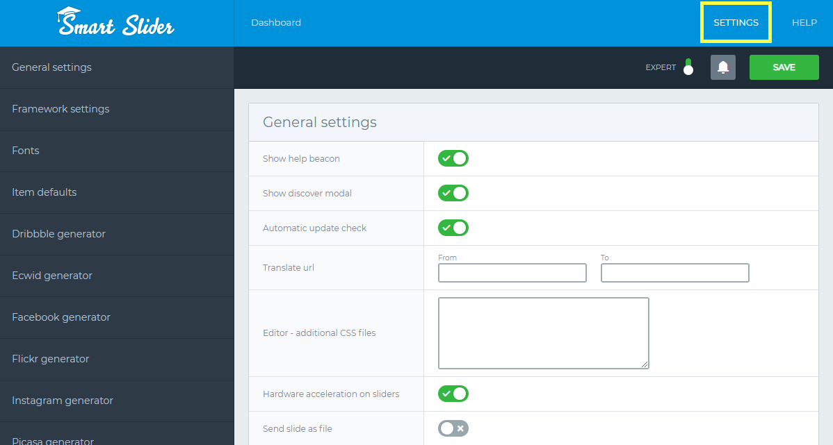Global settings - General settings - Smart Slider 3