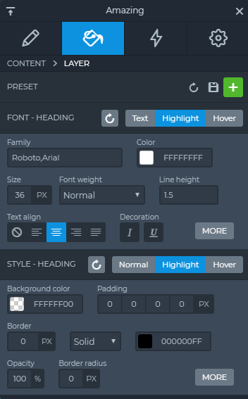 Highlighted heading layers settings on Design tab