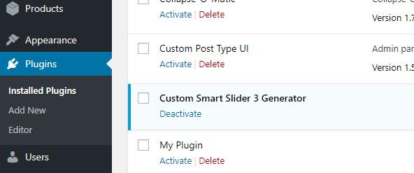 WordPress Custom generator - Smart Slider 3