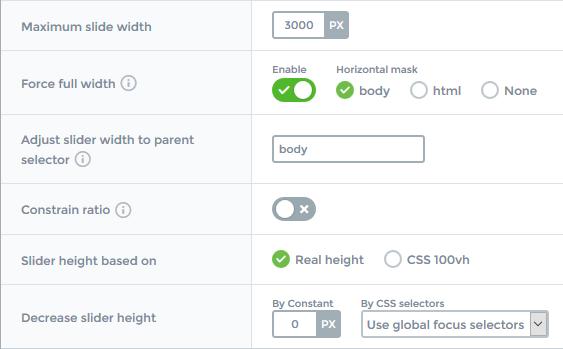 Slider settings - Slider size - Responsive mode - Fullpage - Smart