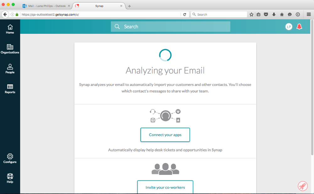 screenshot of the Analyzing Your Email screen which reveals the Connect Your Apps (Integrations) button and the button to Invite Your Co-Workers