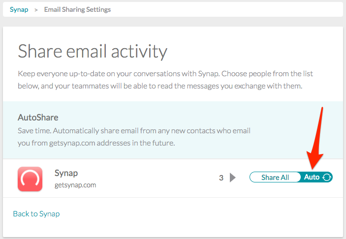 screenshot of arrow pointing at autoshare on email sharing page