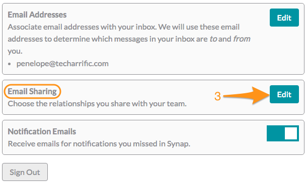 Screenshot of the Account Settings screen, specifically the section showing Email Sharing circled in orange with an arrow numbered '3' pointing at the Edit button for Email Sharing