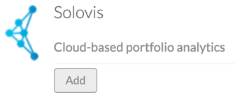 screenshot of the Solovis integration and its 'add' button on our integrations page