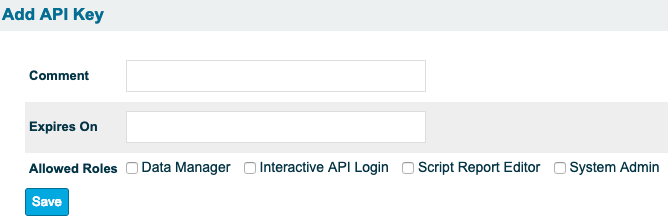 add api key screen with all fields mentioned above blank
