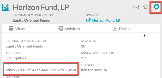 screenshot showing a fund page in Synap with the entity's id enclosed in a red frame