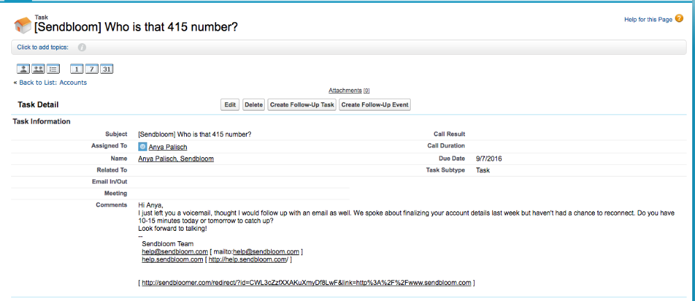 What do emails logged by Sendbloom look like in Salesforce