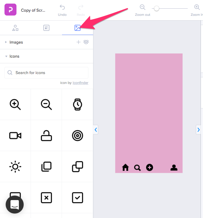 Search for free icons in the Wireframe feature - Help documents - Prott