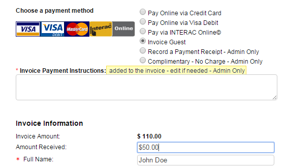 Registering On Behalf Of A Guest And Recording Cash Or Cheque - Submitting invoices for payment