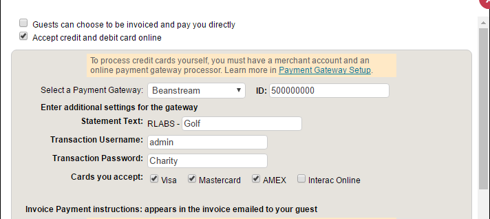 Setup Payment Options And Guest Payment Methods InviteRight - Invoice payment options