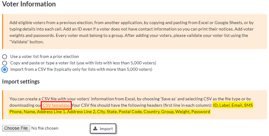 Voter List — Importing a CSV File of Voter Information - ElectionBuddy