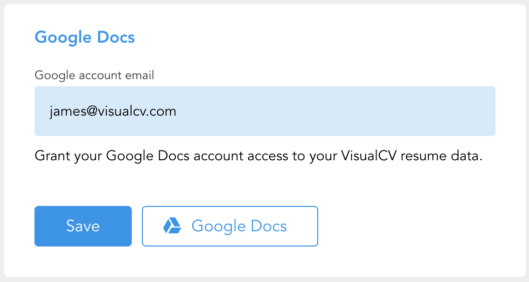 Exporting Your Visualcv To Google Docs Word Visualcv Knowledge Base